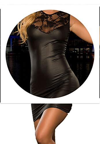 New Lingerie PU Leather Lace Patchwork Night Dress Teddy Clubwear Costumes Lingerie Nightgown,Black,L