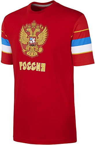 Nike QT Team Russia 2 Headed Eagle Hockey Tri-Blend Olympic Jersey T-Shirt (Red, Small)