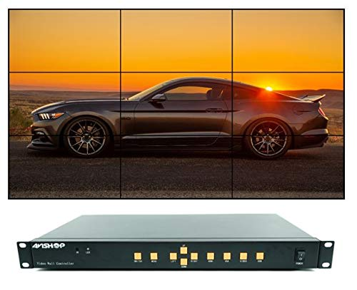 AVISHOP Seamless 3x3 HDMI Video Wall Controller 1080p HD TV Multiviewer 3x3 2x4 4x2 2x3 2x3 2x2 4x1 HDMI+VGA+AV+USB Mode VGA+USB+HDMI+AV+RS232 Control 9 Output Composite Video