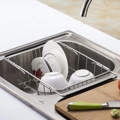 Keyi le Praktisch und stilvoll Spülbeckenabflusskorb des rostfreien Stahls teleskopischer Geschirrkorb der Fruchtaufbewahrungskorb-Küchengestell wäscht Größe : Jiaqiang