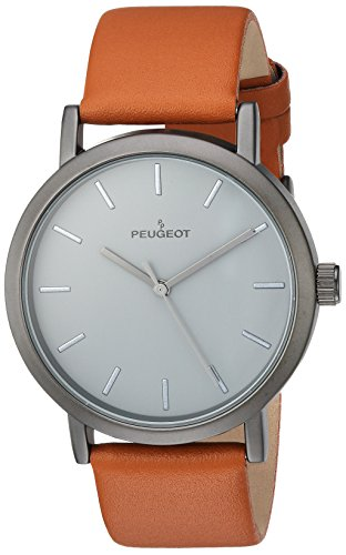 Peugeot Men's 'Matte Gun' Quartz Metal and Leather Casual Watch, Color:Brown (Model: 2059GN)