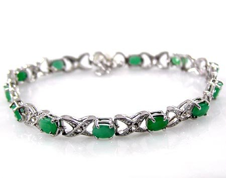 Genuine Emerald Tennis Bracelet - Sterling Silver Jewelry Collection : 6.25ctw Genuine Emerald Ovals & .925 Sterling Silver Bracelet