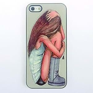 MOFY- Chica se abraza modelo del caso del metal duro para el iPhone 4/4S