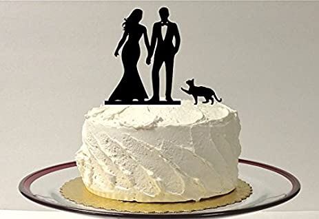 Amazon.com: + PET CAT - Silhouette Wedding Cake Topper with cat ...