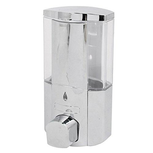 (uxcell ABS Chrome Plated 300ML Wall-Mount Bathroom Liquid Soap Dispenser Silver Tone)