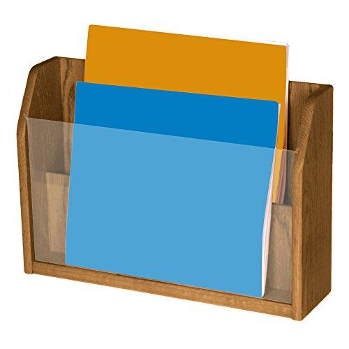 Wooden Mallet 2-Pocket Countertop Newspaper Display, Medium Oak - Newspaper Display Holder