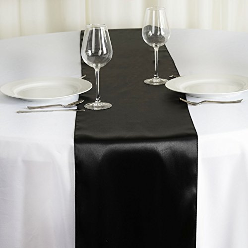 BalsaCircle 10 pcs 12 x 108 inch Black Satin Table Runners Wedding Table Top Party Supplies Reception Linens Decorations -