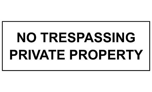 New Plastic No Trespassing Private Property Sign, 8 X 3 in with English Text, Black on White for Men, Women, Unisex