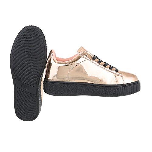 Ital-Design Low-Top Sneaker Damenschuhe Low-Top Sneakers Schnürsenkel Freizeitschuhe Rosa Gold KK-66