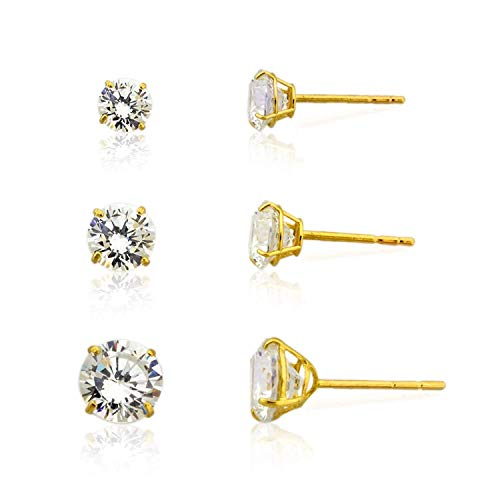 - 3-pair 10K Yellow Gold Round Simulated Diamond CZ Stud Earrings Set, (4mm,5mm & 6mm)