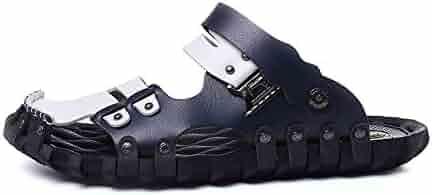 0b06e9273c82 ZLF Men s Beach Sandals Microfiber Leather Slippers Lightweight Closed Toe  Sandals Platform