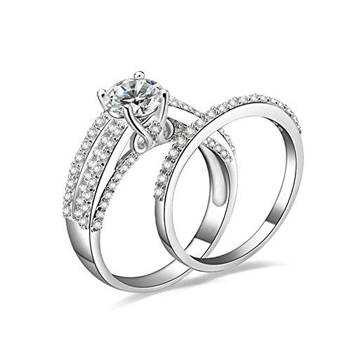 Gentlemans Titanium Diamond Set - Daesar Anniversary Ring Diamond 4-Prong Setting Round Cubic Zirconia Ring Set Ring Size 9