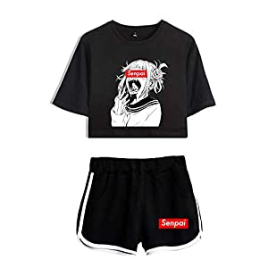 2 Piece Hentai Outfits for Women Summer Anime Crop Top and Shorts Pants Sets