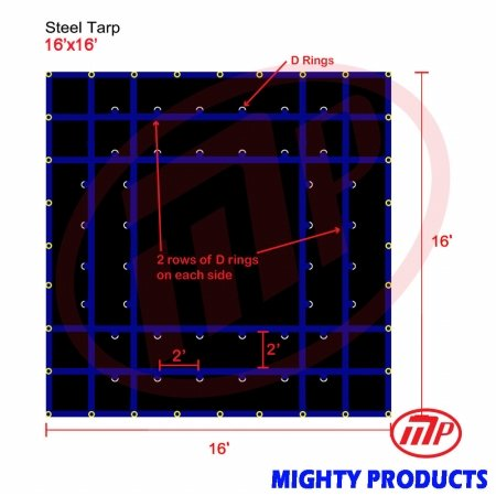 Xtarps-16' x 16' Flatbed Truck Tarp - Light Weight Steel Tarp, Black by XTARPS