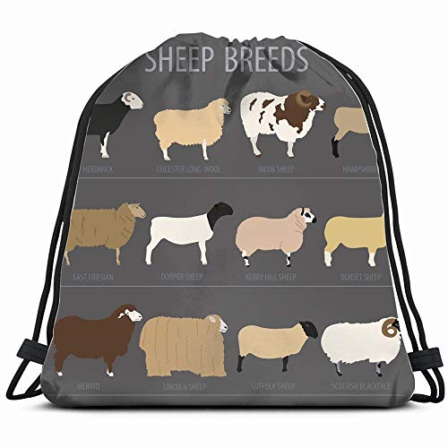Sheep Breed Icon Set Farm Animal Animals Wildlife Objects Drawstring Backpack Gym Sack Lightweight Bag Water Resistant Gym Backpack For Women&Men For Sports,Travelling,Hiking,Camping,Shopping Yoga
