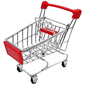 Mini Shopping Cart Supermarket Handcart Mini Shopping Cart Mini Supermarket Storage Toy (Red)