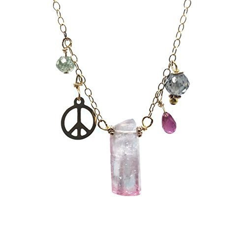 [14K Yellow Gold Peace Sign Paraiba Blue Pink Tourmaline Crystal Necklace With Rubies And Diamonds | Anniversary Gifts For Her By Van Der Muffin's Jewels ~ 16