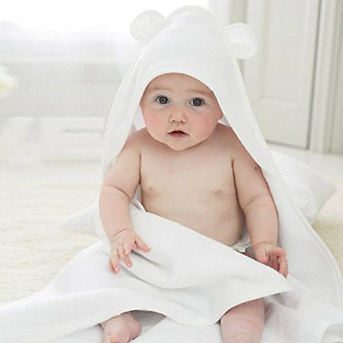 Bamboo Hooded Baby Towel with Bear Ears. Made with 100% Bamboo Terry Cloth plus 100% Cotton Base for Super Soft and Absorbent. Perfect Size 30