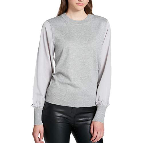 DKNY Womens Mixed Media Knit Pullover Sweater Gray XL ()