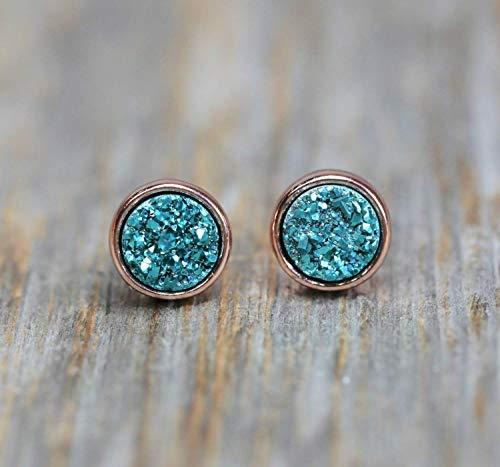 Aqua Quartz Earrings - Aqua Blue Druzy Stud Earring Real Druzy Quartz Gemstone- Rose Gold Bezel- 8mm