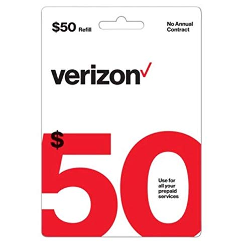 - Verizon $50 Prepaid Refill Card (mail delivery)