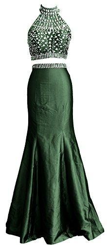 Mermaid Prom MACloth Gown High Women Dress Piece Dunkelgrun Formal Neck Long Two Taffeta 5F8UqxFwH
