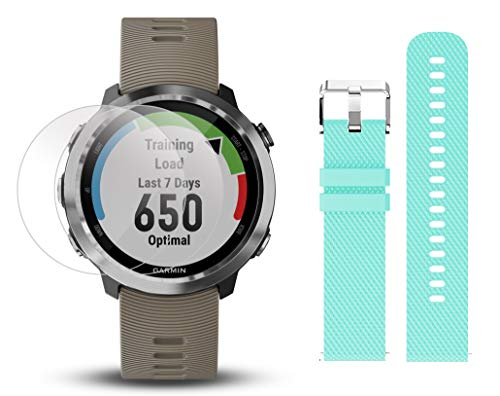 Garmin Forerunner 645 Bundle with Extra Band & HD Screen Protector Film (x4) | Running GPS Watch, Wrist HR, LiveTrack, Garmin Pay (Sandstone, Teal) by PlayBetter (Image #1)
