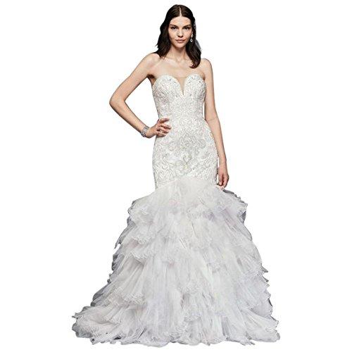 Beaded Mermaid Wedding Dress With Tulle Skirt Style SWG760, White, 8