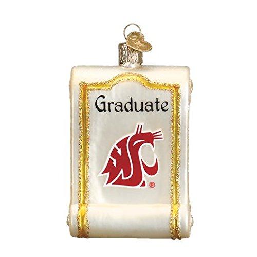Old World Christmas Washington State University Diploma Glass Blown Ornament