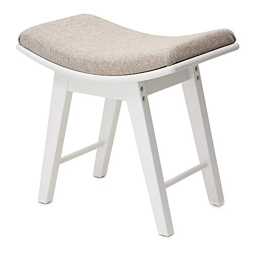 (IWELL Vanity Stool with Rubberwood Legs, Makeup Bench Dressing Stool, Padded Cushioned Chair, Piano Seat, Capacity 286lb, White SZD001W)