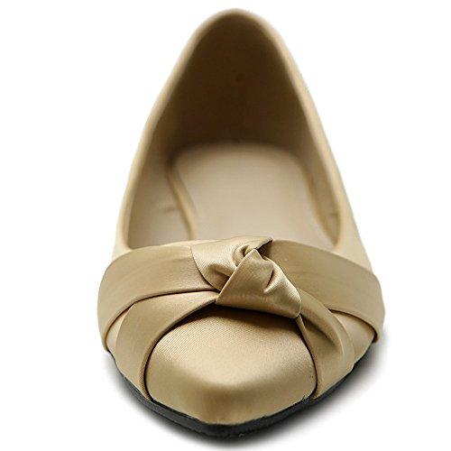 Ollio Womens Shoe Ballet Knot Accent Pointed Toe Flat G. Beige LUBynxDI