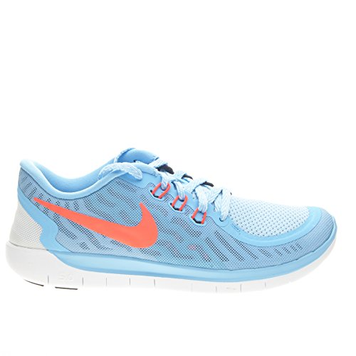NIKE Girl's Free 5.0 Running Shoe (GS) Blue/Crimson Size 5.5 M US