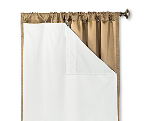 "HLC.ME White Thermal Insulated 100% Blackout Window Liner For 63"" Inch Curtains For Bedroom"