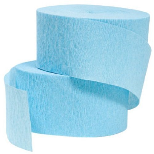 - 4 ROLLS, LIGHT BLUE / SKY BLUE / BABY BLUE Crepe Paper Streamers 290 ft Total - Made in USA! by Greenbrier