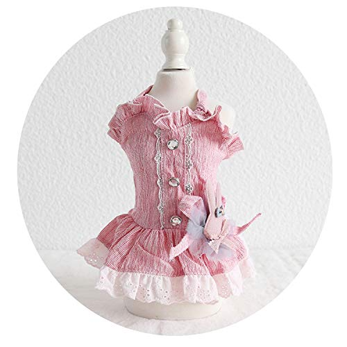 Bunny Dog Pet Cat Party Wedding Princess Dress Tutu Skirt for Small Dog Girl Summer Puppy Shirt Rabbit Dog Costume Clothes,Pink,XS