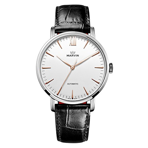- Swiss Made Marvin Automatic Men Watches with White Dial and Rose-Gold PVD Indexes
