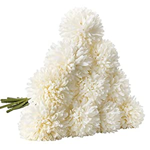 CQURE Artificial Flowers, Fake Flowers Silk Plastic Artificial Hydrangea 10 Heads Bridal Wedding Bouquet for Home Garden Party Wedding Decoration 10Pcs (White) 69