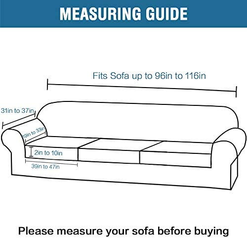 Modern Velvet Plush 4 Piece High Stretch Sofa Slipcover Strap Sofa Cover Furniture Protector Form Fit Luxury Thick Velvet Extra Large Sofa Cover for three Cushion Couch(XL Sofa, Gray)