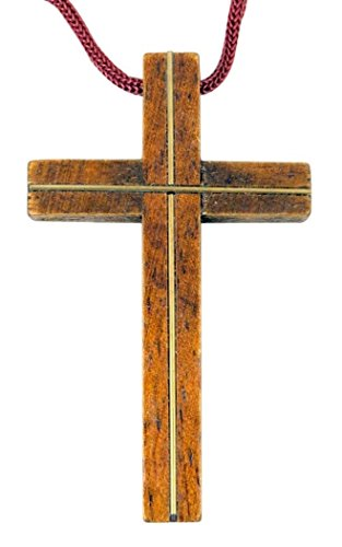 Light Wood Latin Pectoral Cross with Gold Tone Inlay, 3 1/4 Inch