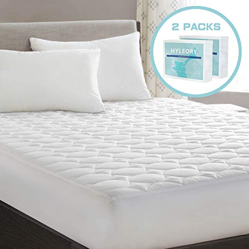 HYLEORY Queen Mattress Pad Cover Quilted Fitted with Stretches to 18