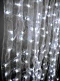 4 x 8 feet White Sheer Tab Organza Curtain with 200 LED Warm White Lights For Sale