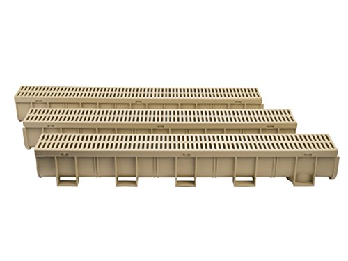 US TRENCH DRAIN, 83302-3 - 10 ft Regular Trench Drain - Sandstone Polymer, Heel Friendly Grate - Pack with 1 End Cap & Adaptor - For Drainage Systems, Driveway, Basement, Pools (Storm Trench)