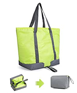 XMBEDERT Insulated Outdoor Picnic Tote Cooler Lunch Bag Collapsible Grocery Cooler Bag,Large,Green