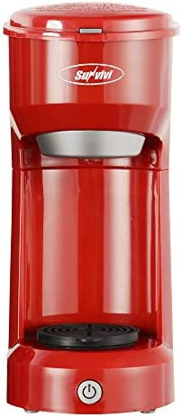 Single Serve Coffee Maker Brewer for Single Cup, K-Cup Coffeemaker With Permanent Filter, 6oz to 14oz Mug, One-touch Control Button with Illumination Red