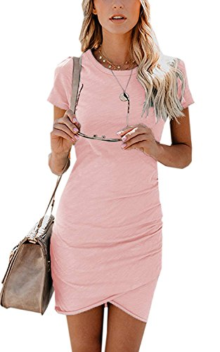 Short Hem ALBIZIA Irregular Neck Round Bodycon pink Dress Mini Sleeve Ruched Women's 1 YxwtqwCg