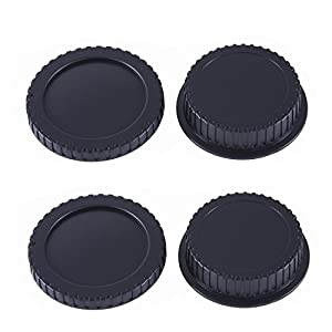 Movo Photo Lens Mount Cap and Body Cap for DSLR Camera
