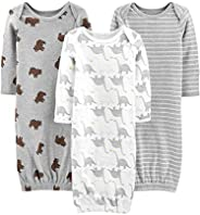 Simple Joys by Carter's Baby 3-Pack Neutral Cotton Sleeper Gown, Bear/Stripe/Dino, 0-3 Mo