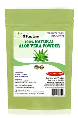 100% Organic Aloe Vera Powder by mi nature - 8 OZ / 227 g / 1/2 lb | Aloe Barbadensis | Vegan | Non GMO (Aloe Nature Organic)
