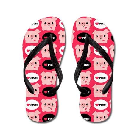 Lplpol Kawaii I Love Pigs Flip Flops for Kids Adult Beach Sandals Pool Shoes Party Slippers Black Pink Blue Belt for Chosen
