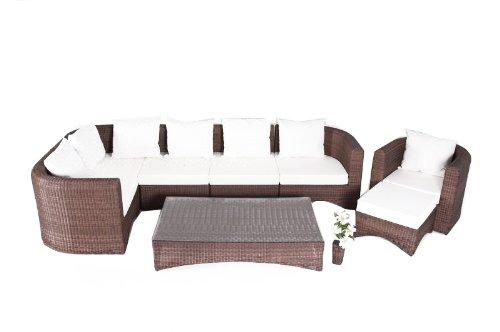 OUTFLEXX Sitzgruppe aus Polyrattan inkl. Polster und Kissen für 7 Personen, hellbraune Rundfaser
